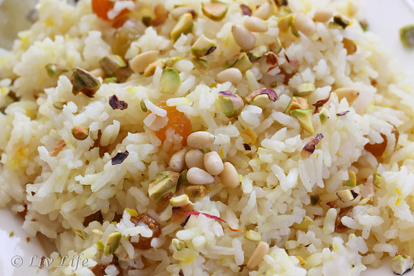 Saffron Rice with Raisins and Pistachios, from An Edible Mosaic