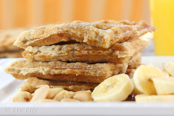 Peanut Butter Waffles, banana, waffles, peanuts