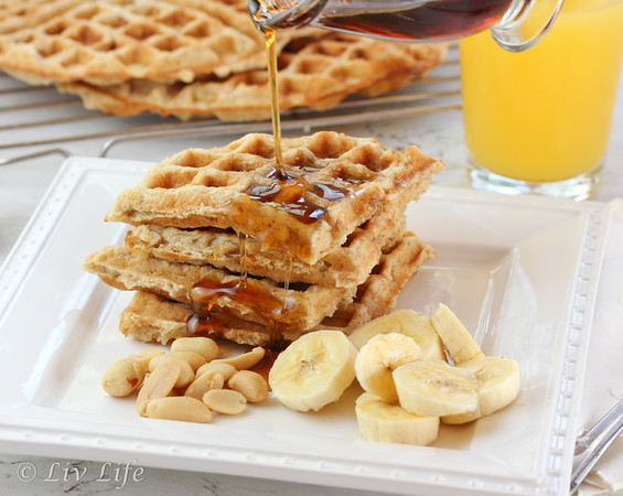 Peanut Butter Waffles, syrup, banana