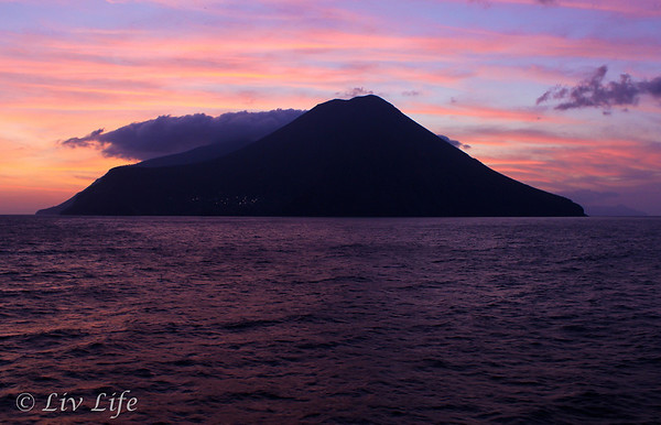 Aeolian Island at sunrise, Seabourn Legend