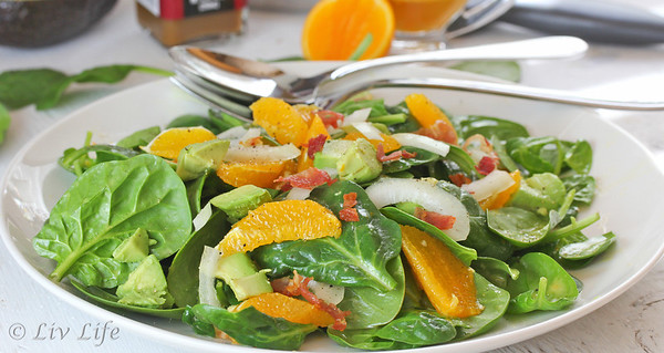 Spinach Salad dressed with Orange