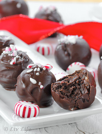 Peppermint Truffles with one half eaten