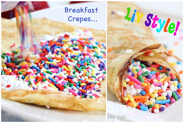 Crepes with rainbow sprinkles or jimmies