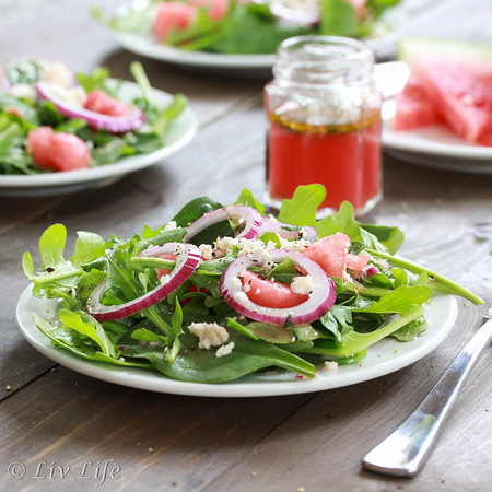 Arugula Salad with Watermelon Vinaigrette
