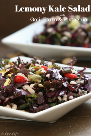 Lemony Kale Salad with Goji Berries, Farro and Pistachio
