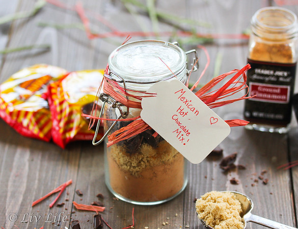 Mexican Hot Chocolate Mix tied with raffia