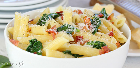 Bowl of pasta with Parmesan, Prosciutto and Spinach
