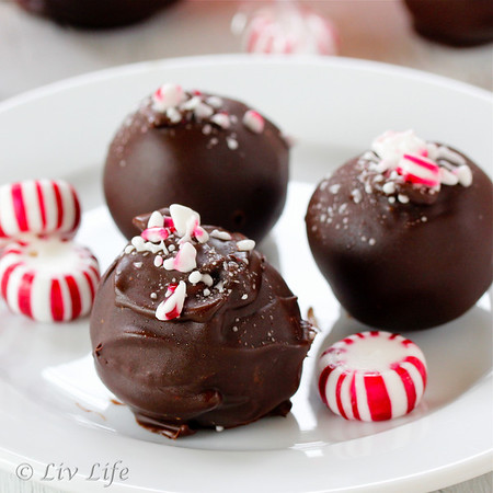 Three Peppermint Truffles with hard peppermint candies
