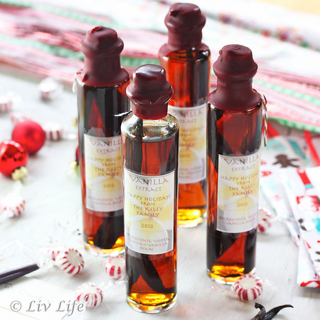 Homemade Vanilla Extract, holiday gifts with wax seal and labels