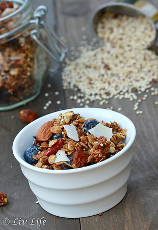 Super Coconut Quinoa Granola with Hemp and Goldenberries