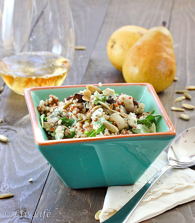 Quinoa Salad with Balsamic Roasted Mushrooms and Pears in turquoise bowl