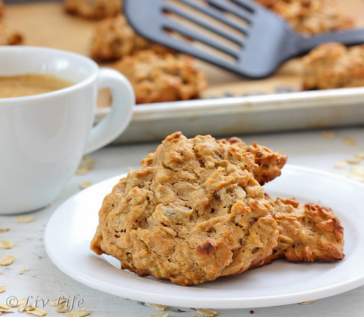 Peanut Butter cookies on a plate with coffee in back ground, 