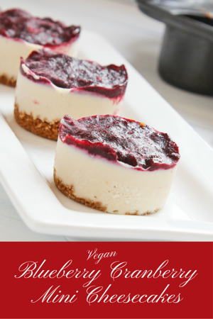 Vegan Blueberry Cranberry Mini Cashew Icebox Cheesecakes