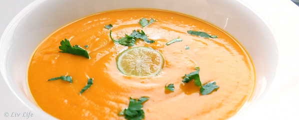 Coconut Sweet Potato Soup with a touch of Lime