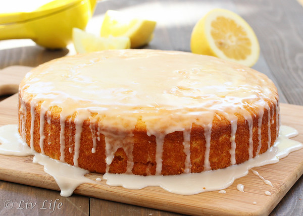 Lemon Cake on cutting board with Lemon Glaze